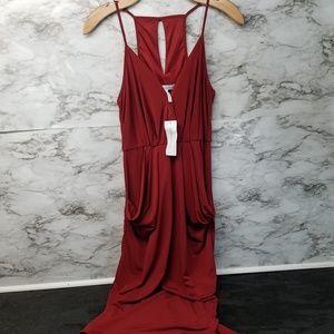 BCBG Womens Sexy Red Dress Halter Vneck Long Sz XS